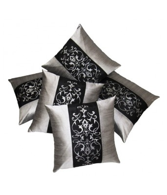 Sightly Embroidered Turquise N Brown Cushion covers Set Of 5 (40X40 cms)