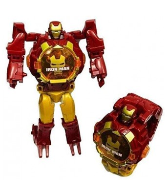 Iron manTransformer Robot Toy Convert to Digital Wrist Watch for Kids