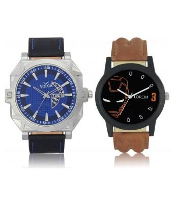 URANUS VL44LR04  New Branded Blue-Brown Color Analog Combo Watch