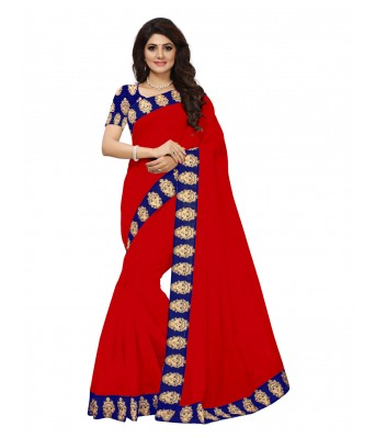 VIBHAA Red Chanderi Saree