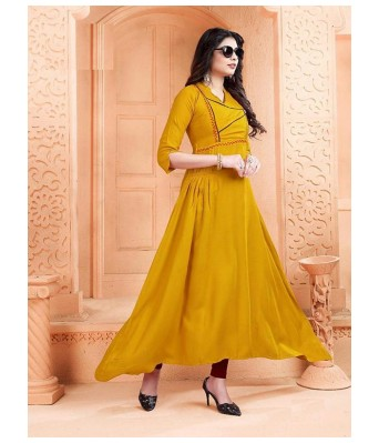 Romile Fashion Yellow Color Stylish Gown Kurta for Girls & Women