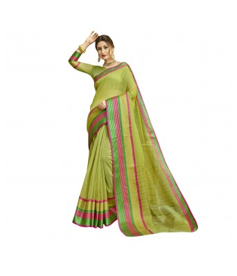 Triveni Green Cotton Silk Festival Wear Viscose Design With Blouses  Sarees