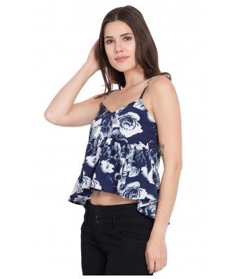 LeSuzaki Womens Navy Blue Strap Poly Crepe Top with White Floral Print