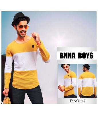 Ansh Fashion Wear Stylish Round Neck Striped Yellow Color T-Shirt for Mens & Boys