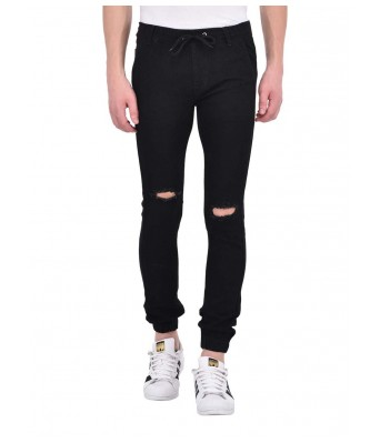 Ansh Fashion Wear Mens Denim Jogger - Regular Fit - Black - Kneecut
