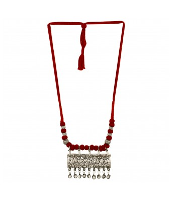 Aradhya Designer German Silver Necklace with Red Dori for Women and Girls