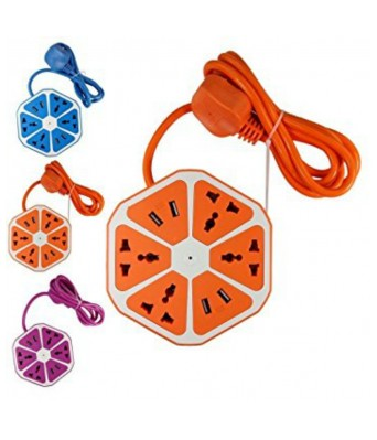 USB Hexagon Socket with 4 USB and 4 Socket (Multi Color)