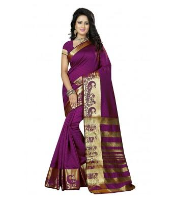 Ethnikaaz Fancy Jacqurd Cotton Saree_EM-JE-2-WINE