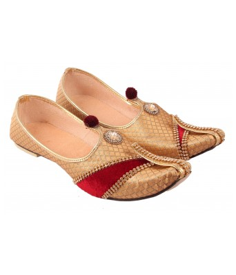 AMAZING TRADERS Red Velvet Design and Canvas Juti/Shoes for Men`s/Boy`s (Golden Color)