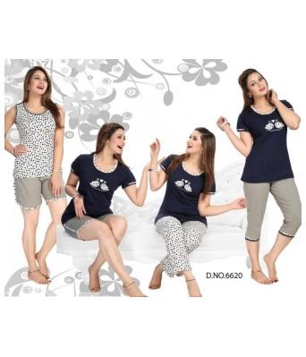 Bhavya Fashion MultiColor Stylish NIGHT SUIT 5 Pcs  COMBO