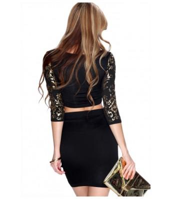 Lovemate Elegant Two Piece Black Gold Eyelets Party Dress