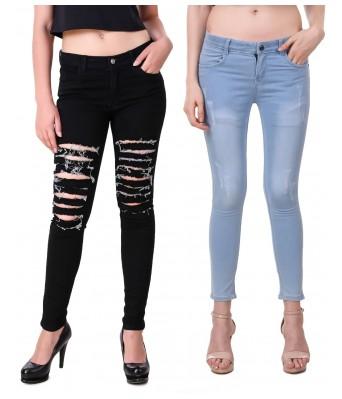 Ansh Fashion Wear Black & Blue Color Present Women Strechable Denim Jeans Regular Fit Pack of 2