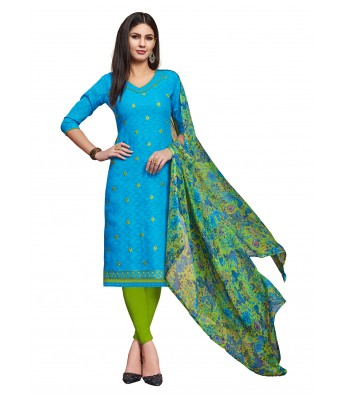 Blue Party Cotton Jacquard Unstitched Dress Material With Dupatta