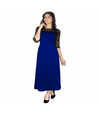 StarShop20 Blue Solid A-line Maxi Dresses
