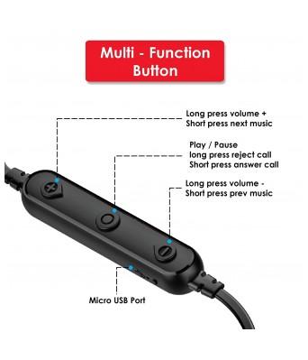 Akai Bluetooth Wireless Earphone Mystic Sports with Immersive Stereo Sound (Black)