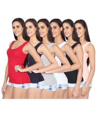 Ansh Fashion Wear Multi Color Cotton Spaghetti Pack of 6