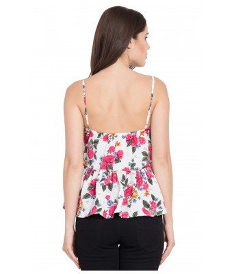 LeSuzaki Womens White Strap Poly Crepe Top with Pink Floral Print
