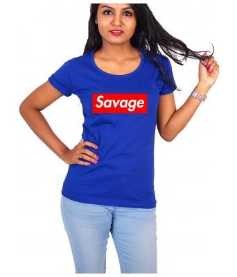 iLyk Women's Savage Printed RoyalBlue Cotton T-Shirt