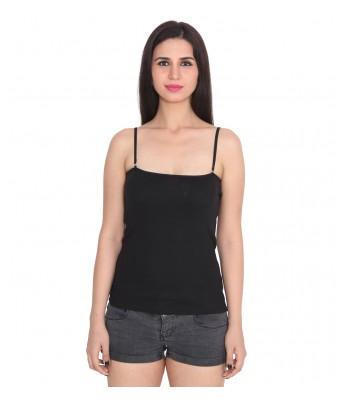 Ansh Fashion Wear Black Color Cotton Spaghetti