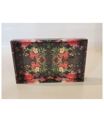 Handcrafted Decoupage English Floral Print Small Tray  Size 8x5inch  Black Watercolour Flowers by The Gift Attic