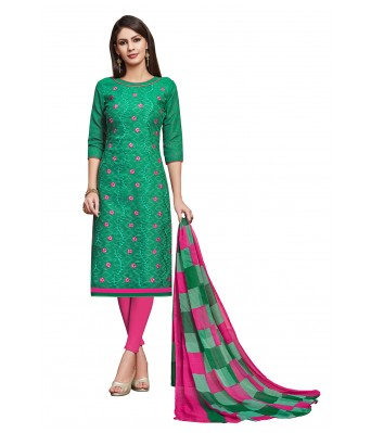 Green Party Cotton Jacquard Unstitched Dress Material With Dupatta