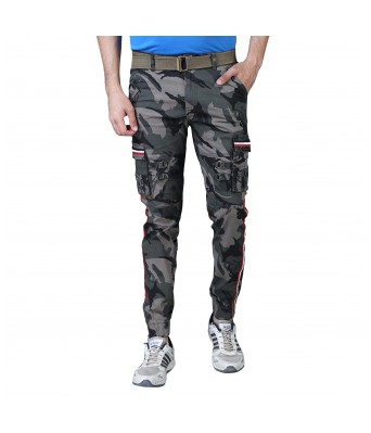 Xee Mens Army Print  Stylish Ribbed & Zipped 6 Pockets Cargo Pants for Mens and Boys