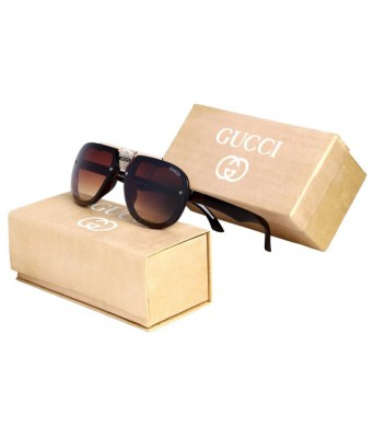 GUCCI EYEWEAR Brown Aviator Sunglasses ( C45 )