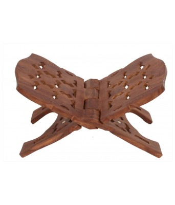 Handmade Large Beautiful Folding Wooden Holy Book Stand for Bhagwat Geeta/Quran/Bible (Brown)