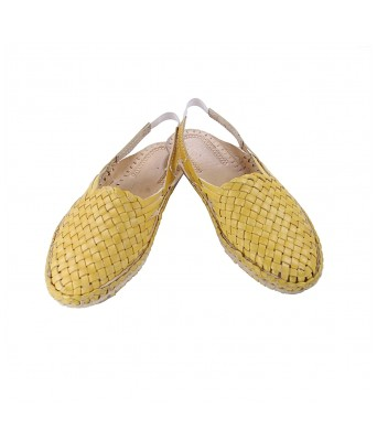 Striking  designer?s yellow mat design back strip ladies kolhapuri half shoe