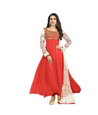 Red color designer embroidery suit