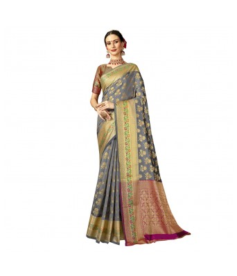 Shakunt Weaves Grey Color Jacquard Party Wear Woven Saree for Woman and Girls