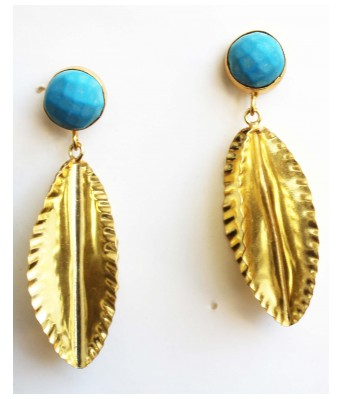 Gharaz Handmade hammered marquis shaped earring with Turquoise studd with gold plating