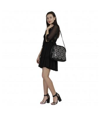 Butterflies Women's Shoulder Bag (Laser Black) (BNS 0541LBK)