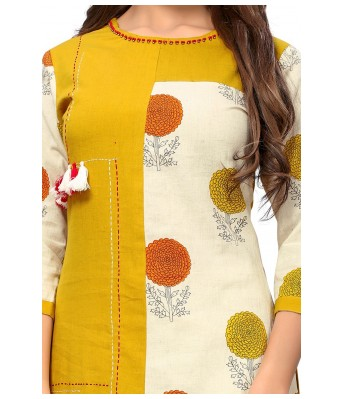 Mustard Yellow Plain & Embroidered Slub Cotton Full Stitched Kurtis - RK Fashions