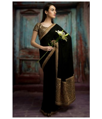 BY Design Black Georgette Sequence Embroidered Saree