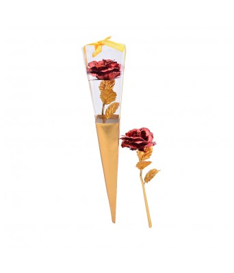 24K Dipped Gold Foil Rose Wedding Birthday Valentine's Day Lovers Gift(Red)