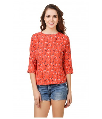 LeSuzaki Womens Orange Duck Print Poly Crepe Top