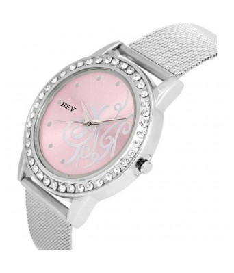 C-1421 Design Pink Dial Watch - For Girls
