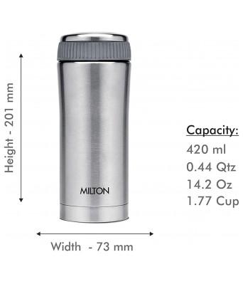 Milton Thermosteel Optima 420 Stainless Steel Flask, 420ml, Steel