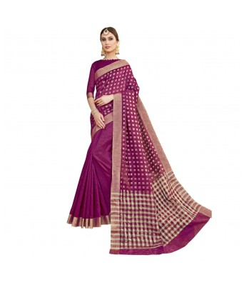 Triveni Purple Silk Festival Wear Woven With Blouses  Sarees
