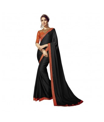 Triveni Black Chiffon Party Wear Lace With Blouses  Sarees