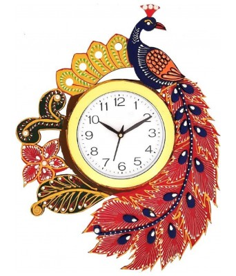 V Brown Blue Color Peacock Antique Designer  Wooden Analog Wall Clock