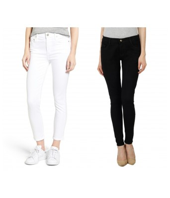 Ansh Fashion Wear Womens Denim Jeans - Contemporary Regular Fit Denims for Women - Mid Rise Ankle Length Jeans - White & Black