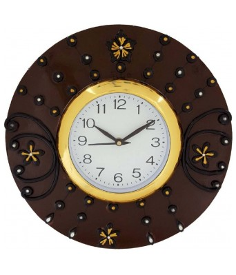 V Brown Brown Color Stylish   Wooden Analog Wall Clock