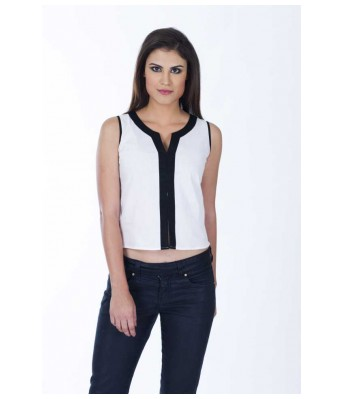 Casual Sleeveless Solid Womens White Top