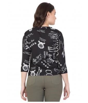 LeSuzaki Womens Black Print Design Poly Crepe Top