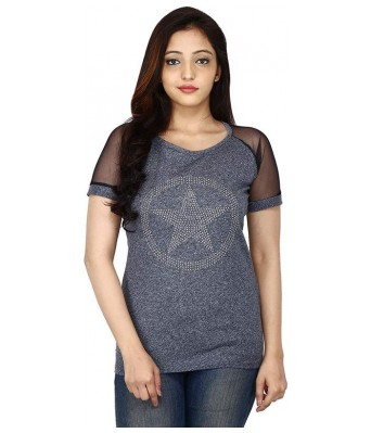 Romile Fashion Casual wear Grey color Printed top for Womens & Girls