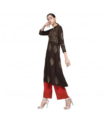 V Brown Womens Rayon Flarred Anarkali Brown Color Block Print Angrakha Kurti