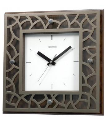 Rhythm laser Cutting Pattern Ring Wooden Wall Clock 29.6x29.6x4.8cm
