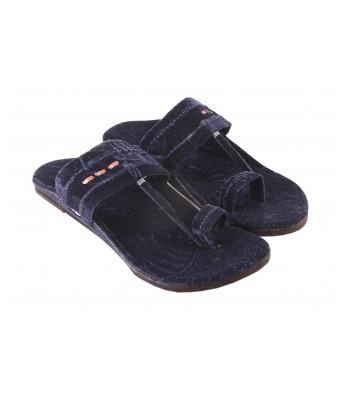 AMAZING TRADERS Velvet Slipper for Men`s/Boy`s (Blue Color)